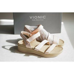 NIB Vionic Misty Baby Pink Strappy Wedge Sandals Comfort Shoes SZ 10